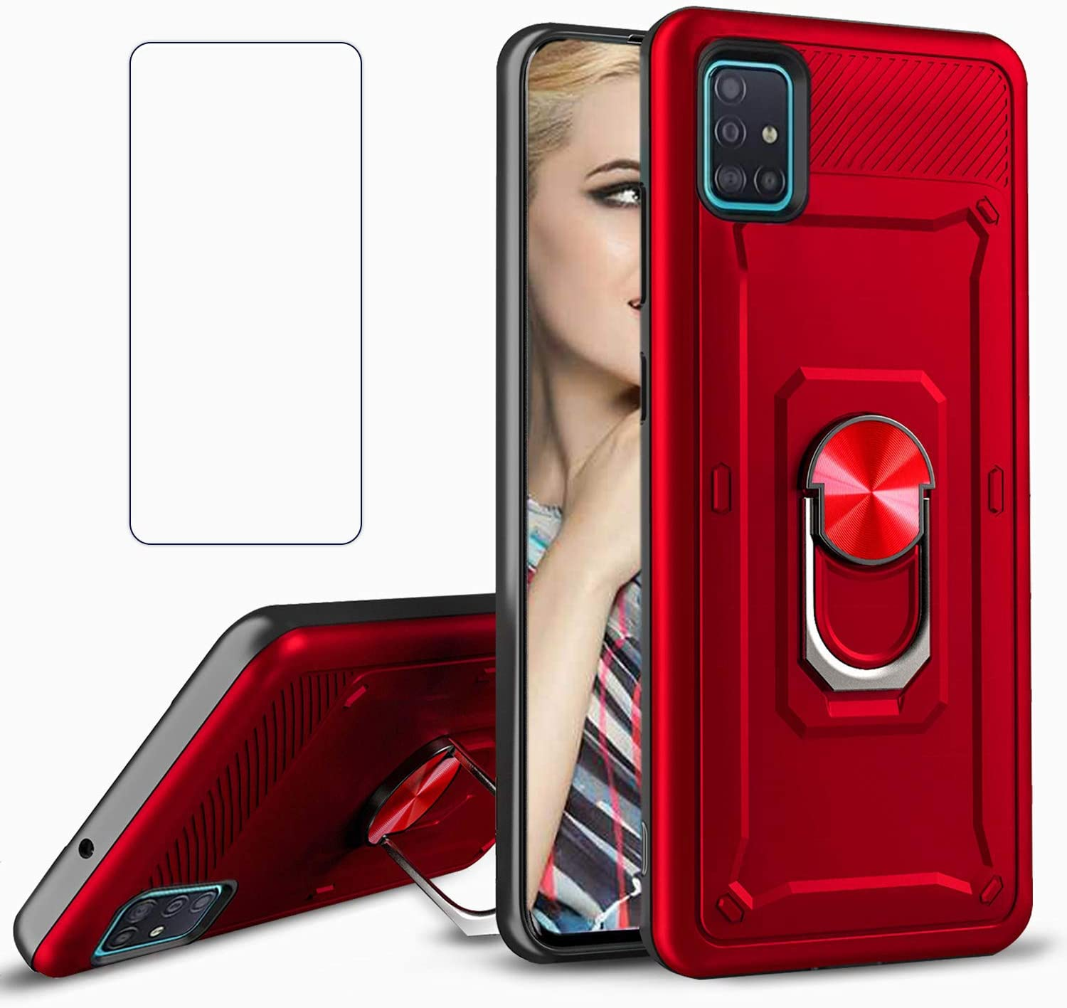 REAMOUNT for Samsung Galaxy A71 5G Case with Tempered Glass Screen Protector, Rugged Hybrid Armor Anti-Scratch Shockproof Kickstand Cover Compatible Magnetic Car Mount Ring Grip (Red)