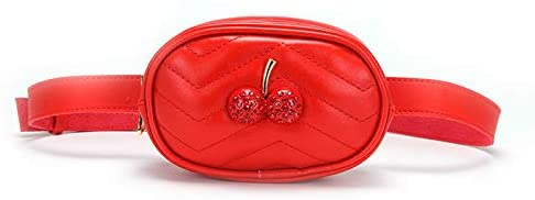 Cute Kids Fanny Packs Red Children's Waist Pack Toddler Small Quilted Belt Purse Pouch Hip Bag for Girls