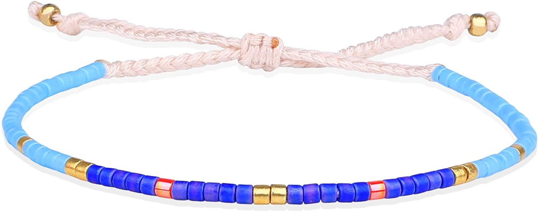 KELITCH Boho-color Crystal Shell Beaded Friendship Bracelets Handmade Strand Bracelet Bangles Jewelry For Summer