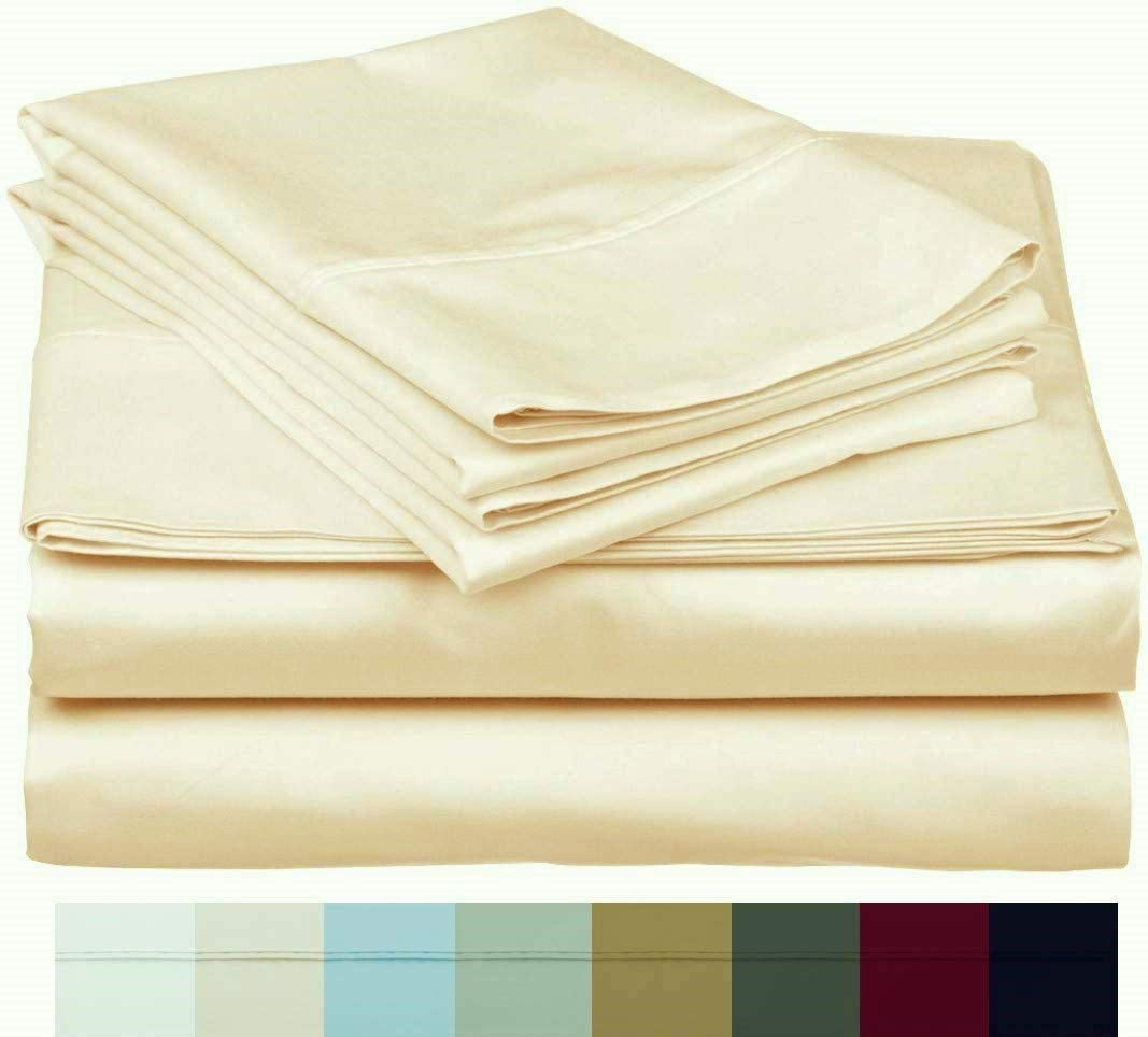The Bishop Cotton 100% Egyptian Cotton 800 Thread Count 4 PC Solid Pattern Bed Sheet Set Italian Finish True Luxury Fits Up to 16 Inches Deep Pocket (Queen, Ivory).