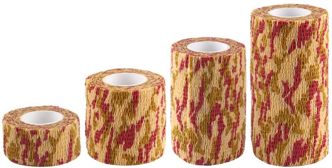 Andux Land Self-Adhesive Bandage 4 Rolls Cohesive Wrap Bandaging Tape ZZTXBD-04 (Maple Leaf Camouflage)