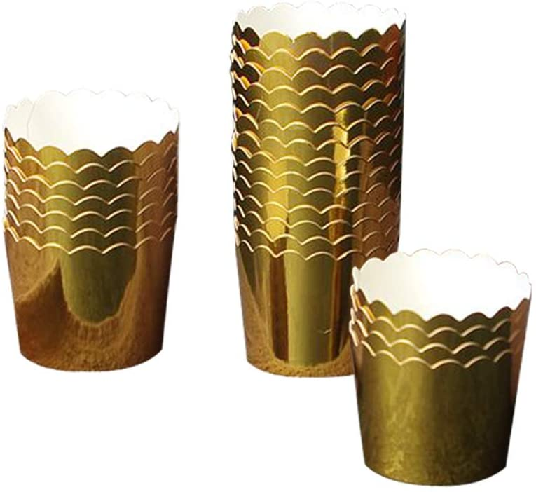 50 Pcs Paper Cupcake Liners Baking Cups, Holiday/Parties/Wedding/Anniversary(Gold)