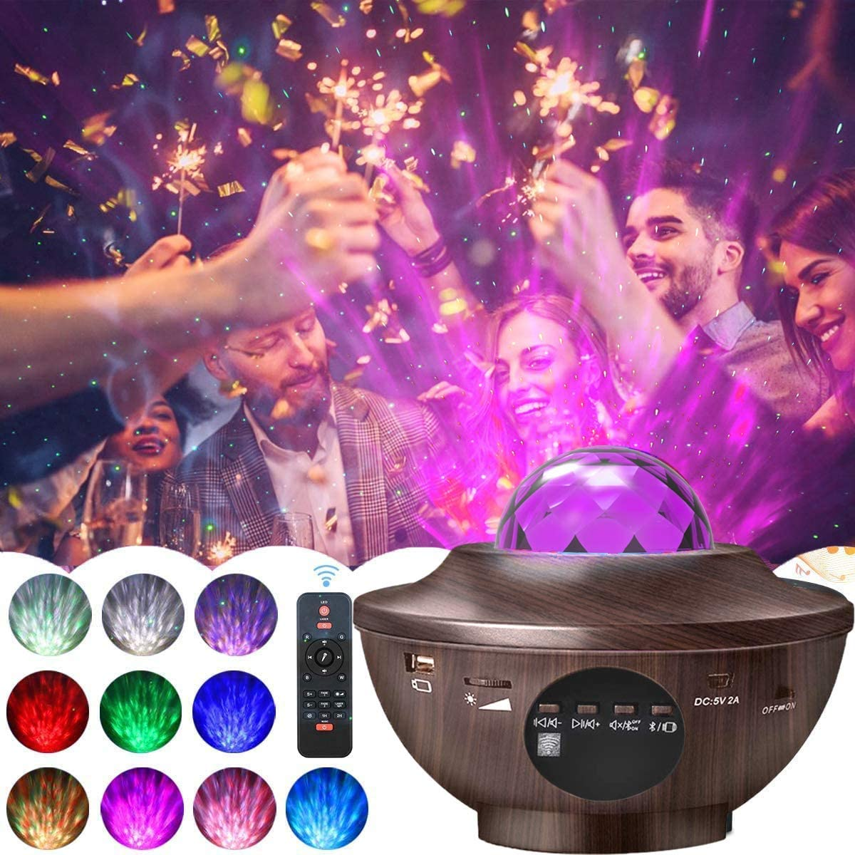 Amouhom Galaxy Projector Night Light - Bluetooth Music Stage Light with Remote Control Adjustable Brightness LED Ocean Wave Star Projector Ambiance Light Gifts for Ceiling/Bedroom/Party/Birthday