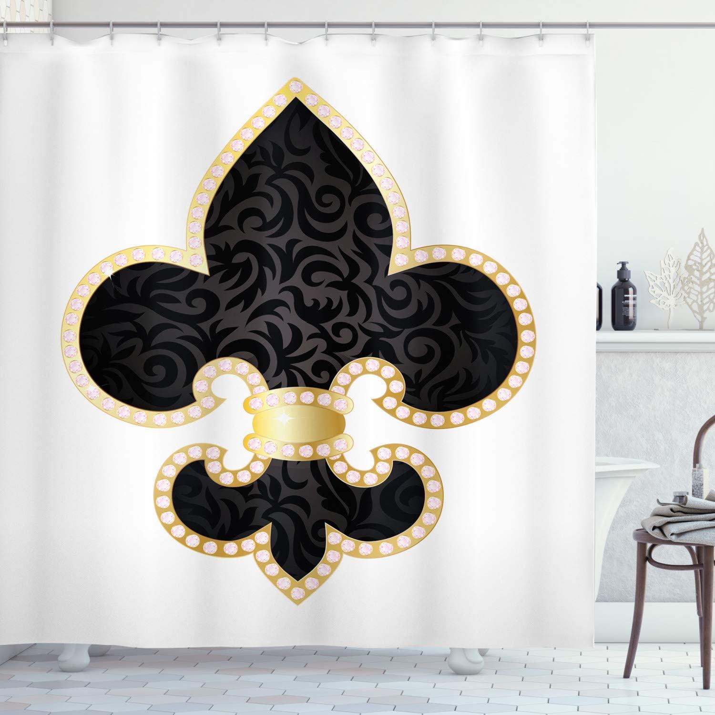 Ambesonne Fleur De Lis Shower Curtain, Royal Lily France Empire Family Insignia Design Image, Cloth Fabric Bathroom Decor Set with Hooks, 75