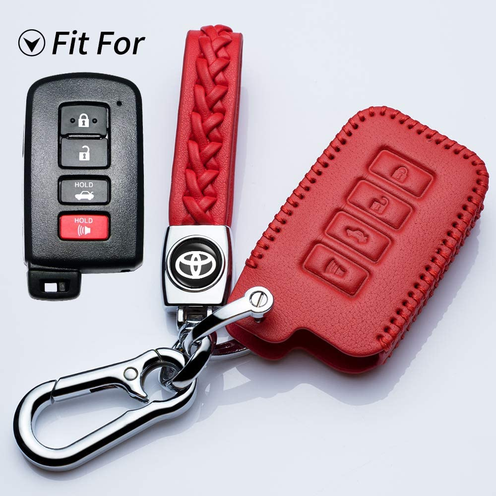 Jazzshion for 4buttons Soft Leather Key Fob Cover Remote Case Keyless Protector Jacket for 2016 2015 2014 Toyota Avalon Camry Corolla RAV4 Highlander