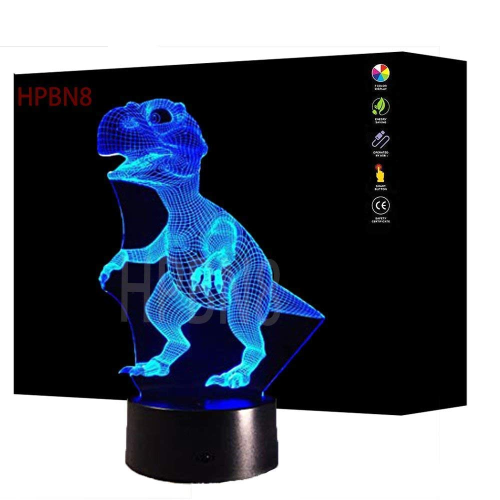 3D Dinosaur Night Light Illusion Lamp 7 Color Change LED Touch USB Table Gift Kids Toys Decor Decorations Christmas Valentines Gift