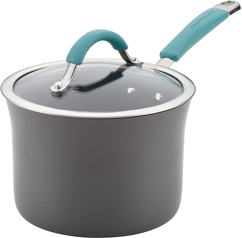Rachael Ray Cucina Hard Anodized Nonstick Sauce Pan/Saucepan with Lid, 3 Quart, Blue