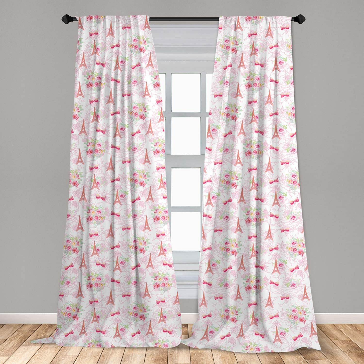 Ambesonne Paris Curtains, Eiffel Towers and French Bouquets Bows with Romantic Pattern, Window Treatments 2 Panel Set for Living Room Bedroom Decor, 56