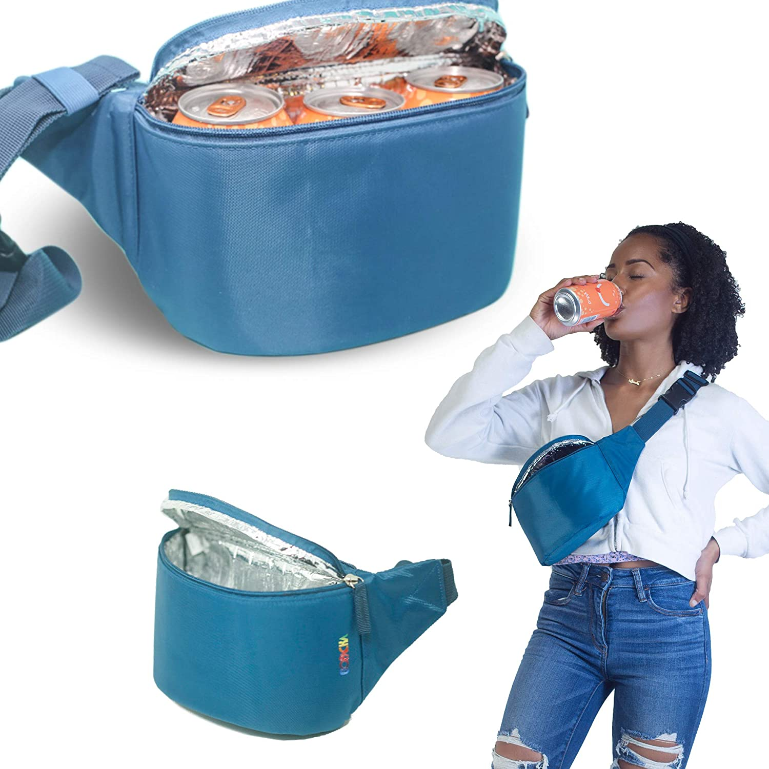 Gopacka Insulated Fanny Pack Cooler for Outdoors, Travel, Camping, Hiking, Sports Waist Pack Bag with Adjustable Strap Unisex