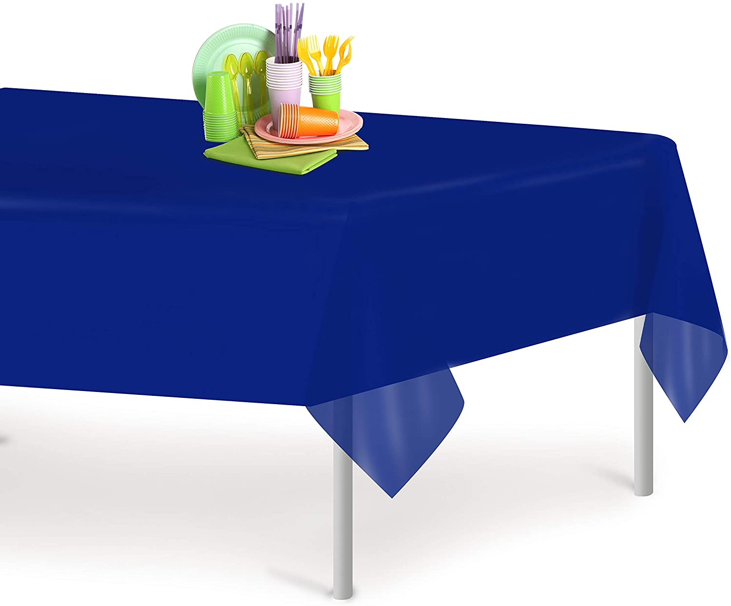 Navy Blue 6 Pack Premium Disposable Plastic Tablecloth 54 Inch. x 108 Inch. Rectangle Table Cover By Grandipity