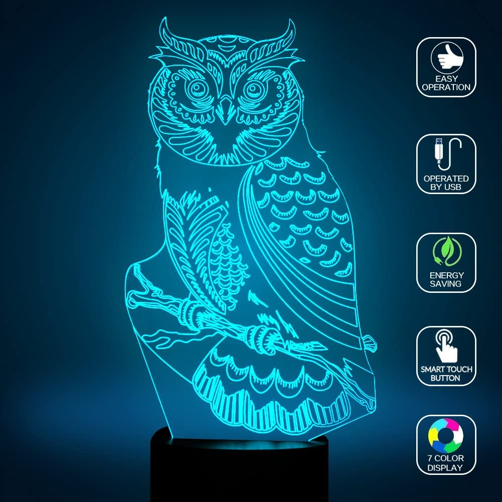 Owl Night Light for Kids, YKL World Owl 3D Illusion Table Lamp, Bed Room Decoration Lamps Touch Switch 7 Color Changing Toys Birthday Gifts for Boys Girls Lover