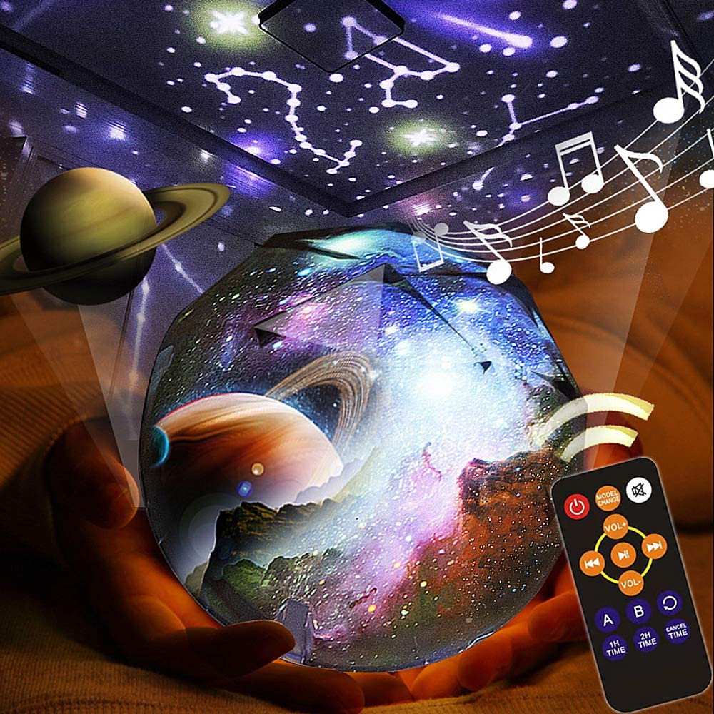 Kids Night Light, Remote Control Night Projector with LED Timer, 360°Rotating Planet Night Lighting Lamps Starry Galaxy Projector for Baby Bedrooms (Remote and Music)