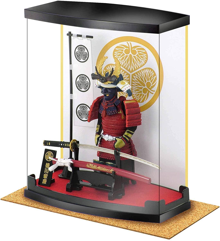 Samurai Figure Series A4 Tokugawa Ieyasu Armor, Dust Proof Transparent Box Height 8.3, with Real Katana(Sword), in Study Office and Living Room, Like Ninja Bushido for Japan Gifts