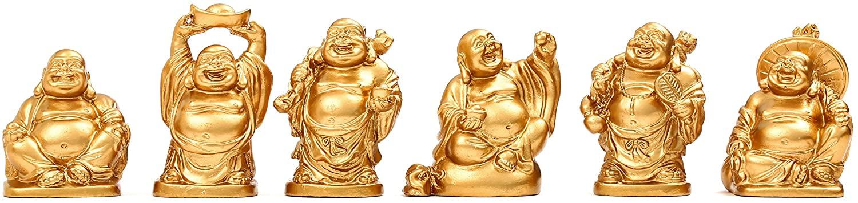 Feng Shui 2'' Golden Resin Laughing Buddha Statue Figurines Set of 6 (Samll Gold)
