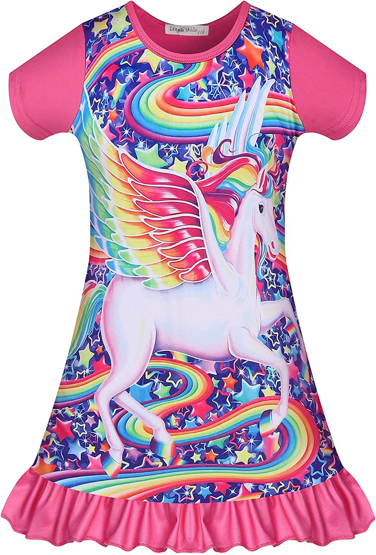 Unicorn Nightgowns Rainbow Pajamas Dress Toddler Princess Nightshirt Kids Girls Sleepwear Dress