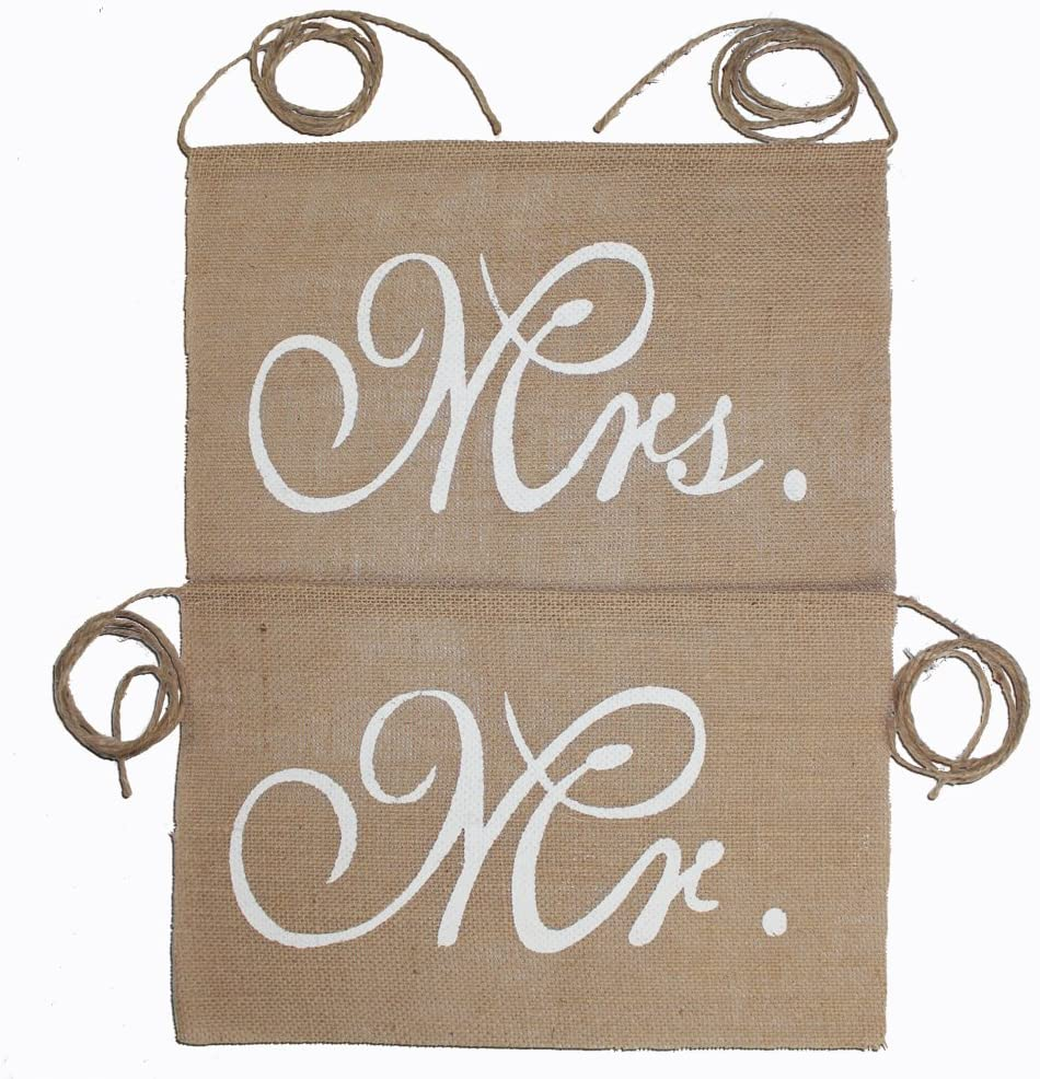 Koker Mr and Mrs Burlap Banner Chair Signs Garland for Vintage Rustic Wedding, Bridal Shower, Engagement Party Decorations, 2pcs