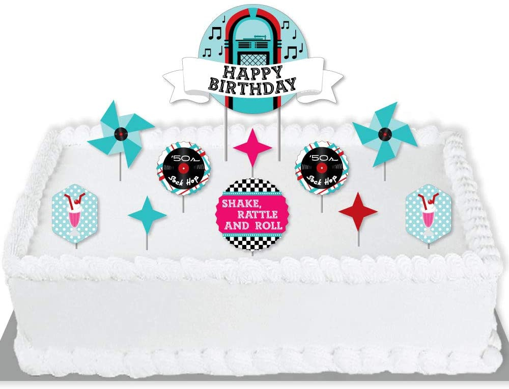Big Dot of Happiness 50's Sock Hop - 1950s Rock N Roll Birthday Party Cake Decorating Kit - Happy Birthday Cake Topper Set - 11 Pieces