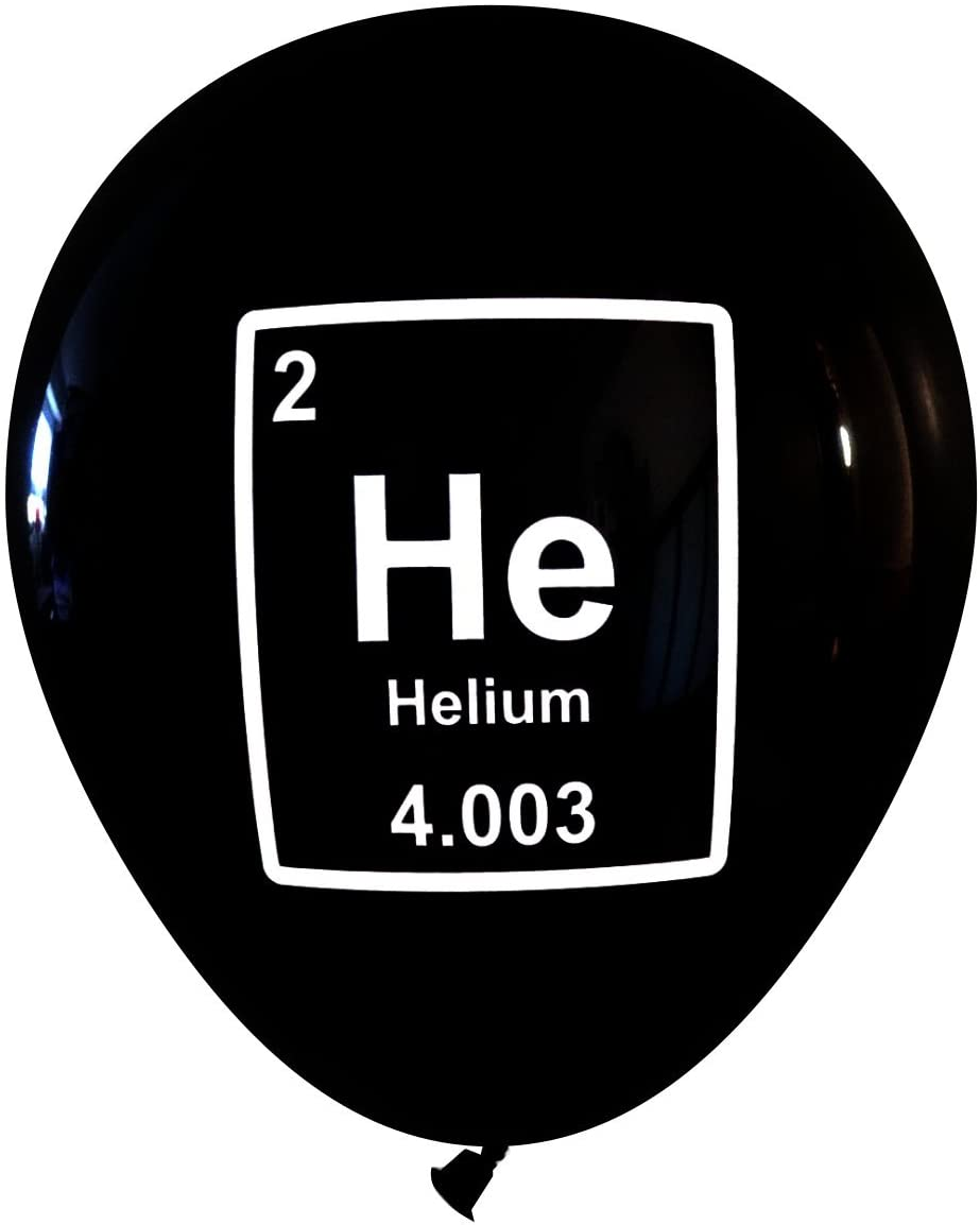 Mad Science Party Balloons - Helium (He) Periodic Table Element (16 pcs, 2-Sided) by Nerdy Words (Black)