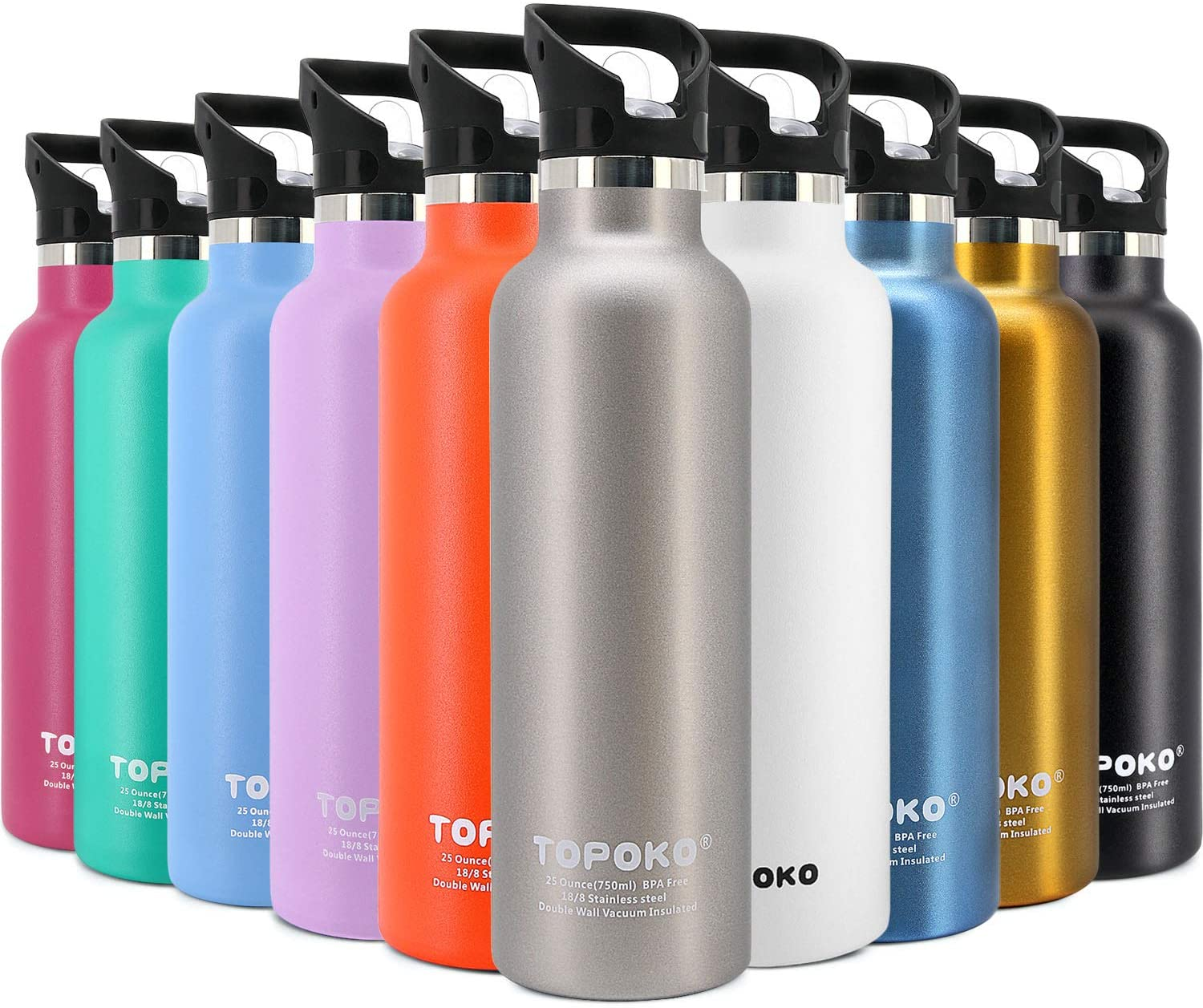TOPOKO 25 OZ Double Wall Stainless Steel Water Bottle, Straw Lid with Handle or Bite Valve Top, Vacuum Insulated, Sweat Proof, Leak Proof Thermos Standard Mouth. (Gray Straw lid)