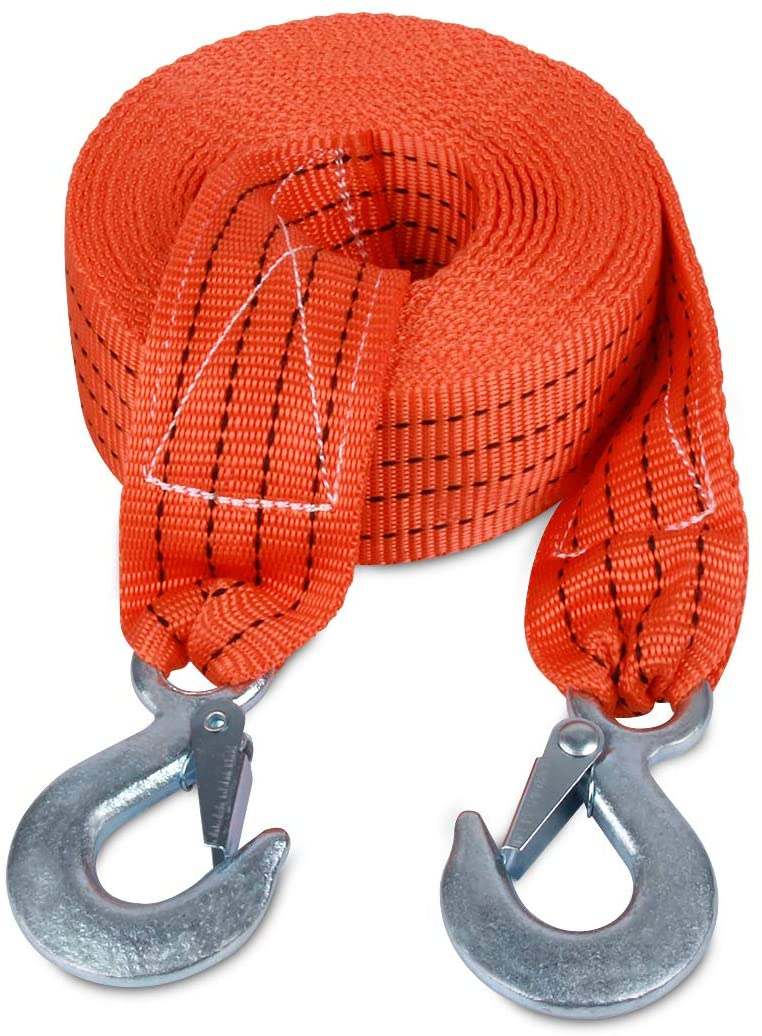 JCHL Tow Strap with Hooks 2in X20Ft Recovery Strap 10,000LB Break Strengthened Towing Rope for Towing Vehicles in Roadside Emergency