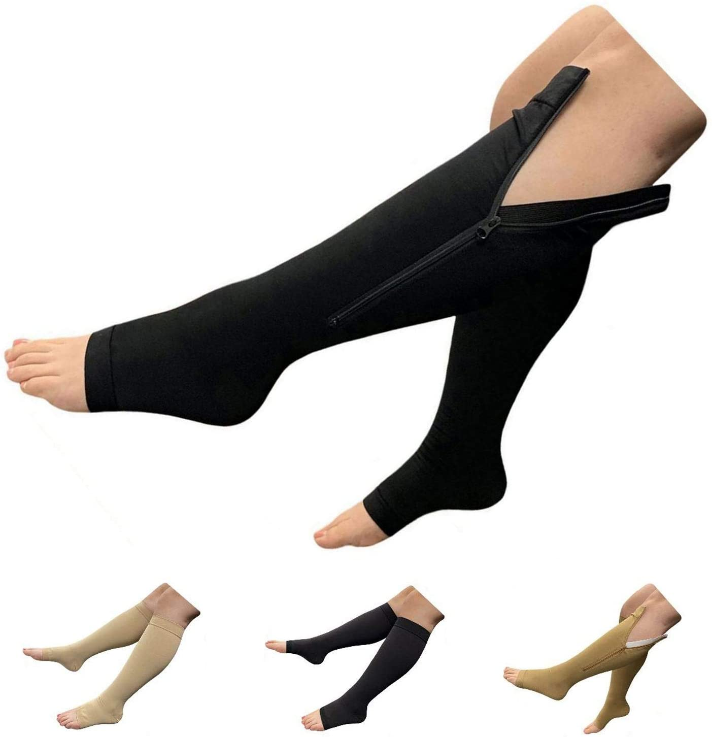 HealthyNees Big Tall Open Toe 20-30 mmHg Compression Plus Wide Calf Leg Socks (Black with Zipper, 2X-Large)