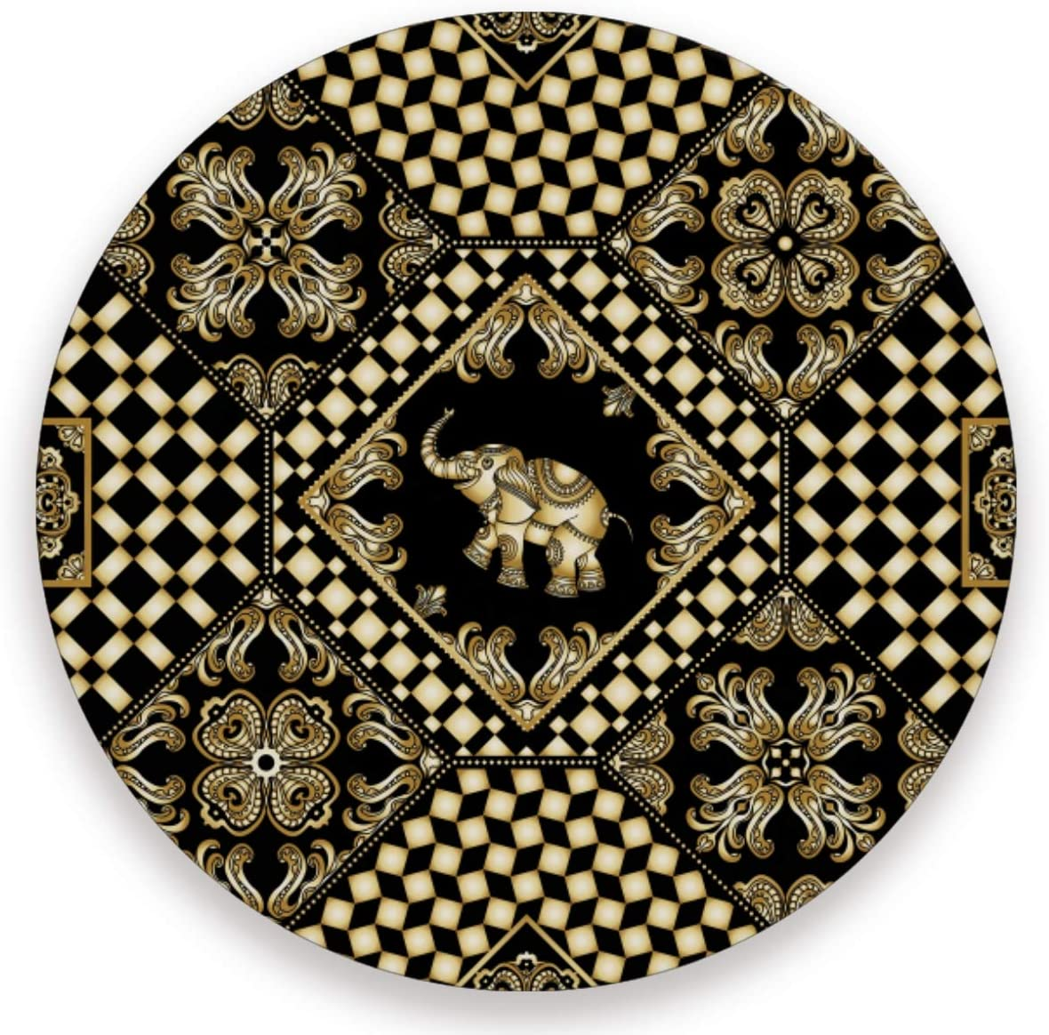 Olinyou Vintage Gold Elephant Geometric Plaid Coaster for Drinks 1 Pieces Absorbent Ceramic Stone Coasters with Cork Base