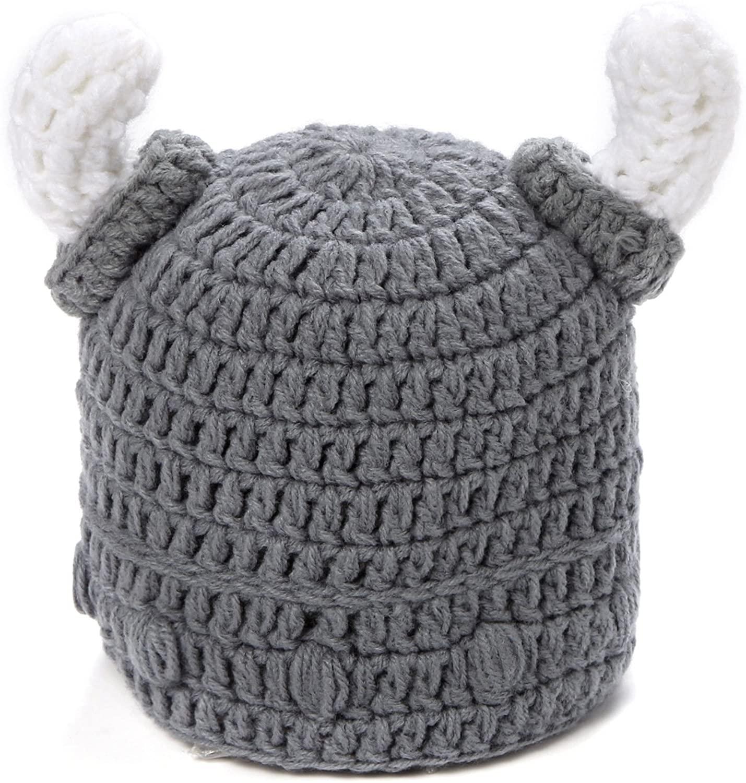 Ypser Baby Adult Viking Knit Hat Wool Bull Horn Crochet Beard Beanie Cap Handmade Knitted