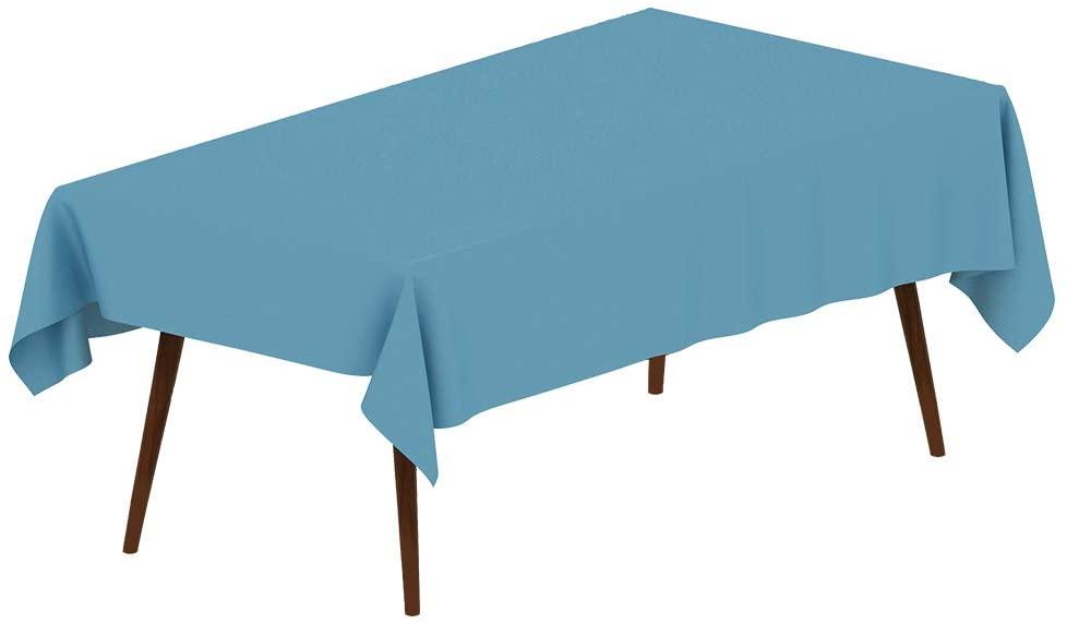 6 Packs Premium Disposable Plastic Tablecloth (Sky Blue, Rectangle (54