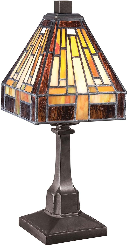 Quoizel TF1018TVB Stephen Tiffany Table Lamp Lighting, 1-Light, 25 Watt, Vintage Bronze (12