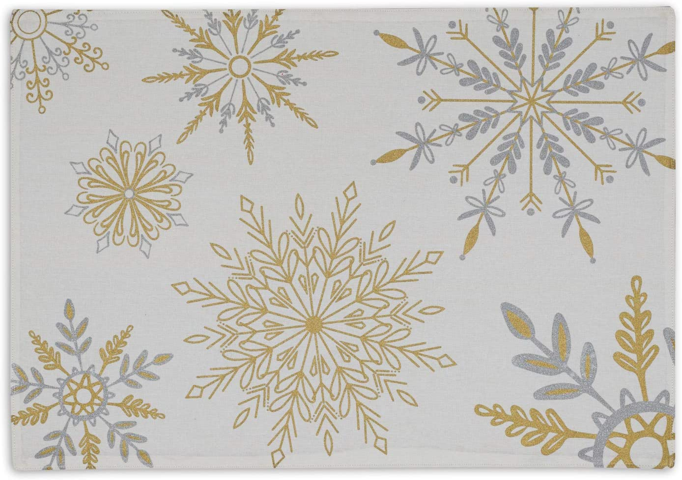 DII Holiday Printed Placemat with Reversible Back - Set of 2 (Sparkle Snowflakes)