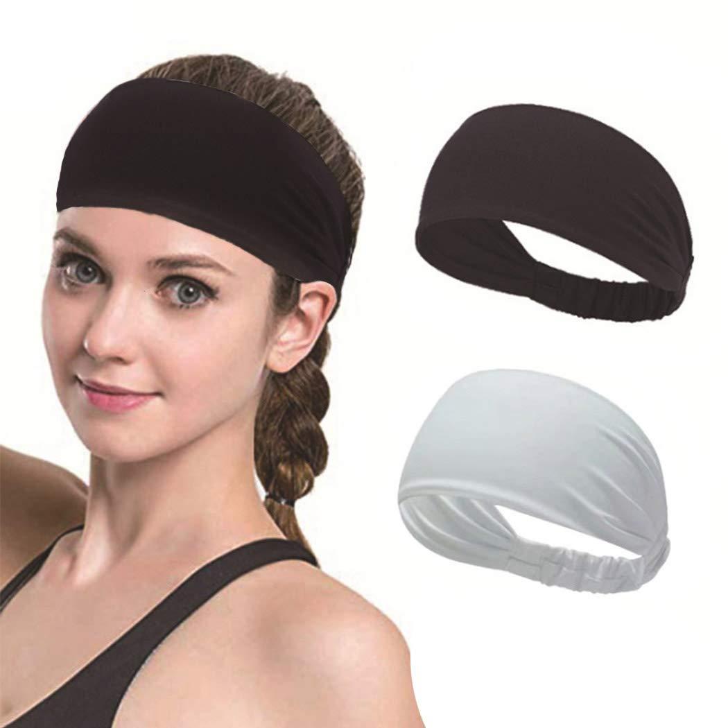 Evazen Yoga Headbands Black White Sweat Running Hair Bands Non Slip Sports Hair Wraps for Women and Men (Pack of 2)