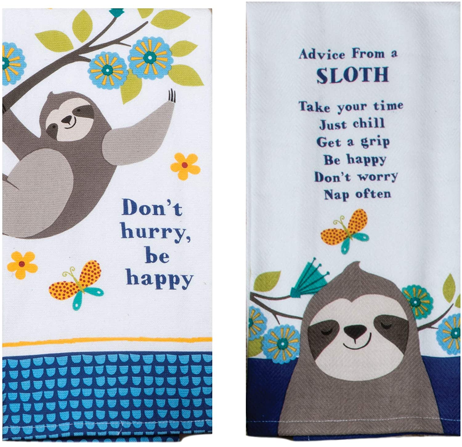 Sloth Themed Kitchen Towels | Bundled Set of 2 Dish Towels | Lessons from a Sloth - Don't Hurry Be Happy | Kay Dee Designs