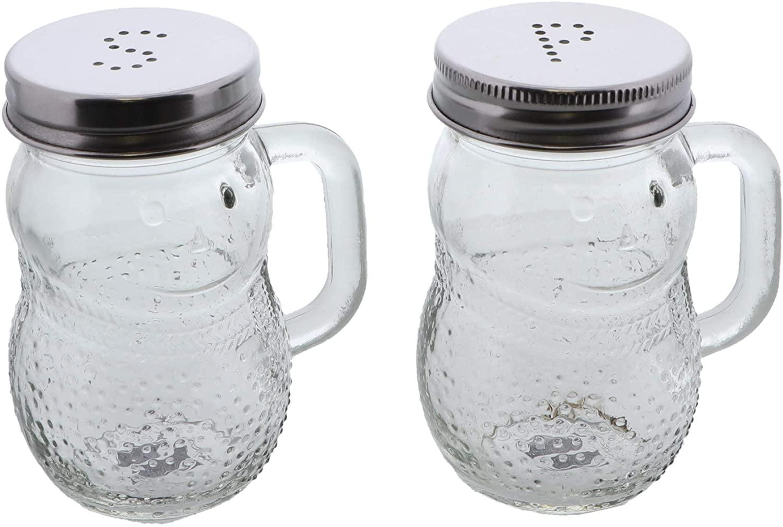 Servette Home Basic Salt & Pepper Shakers - Glass Snowman with Handle