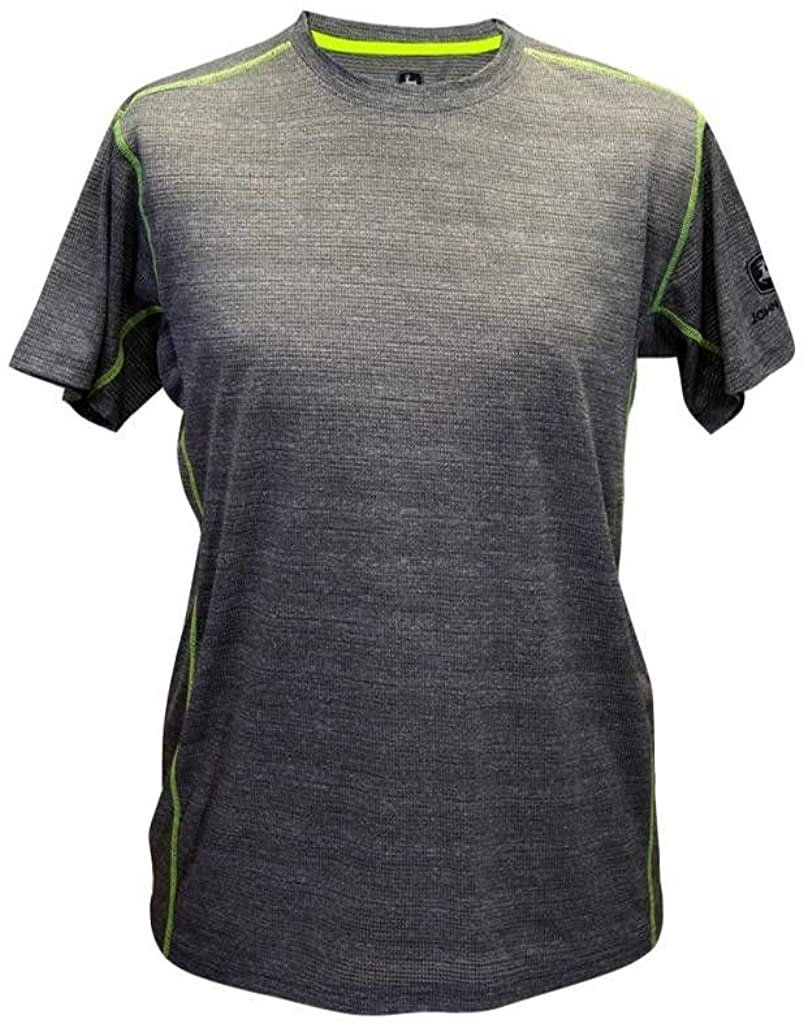 John Deere Men's Light Charcoal Heathered Poly T-Shirt-Large, Green, Size Large