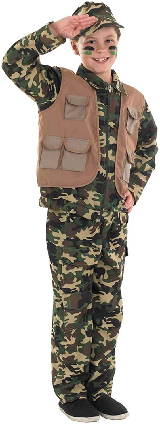 Boys Army Costume Childrens Camo Military Soldier Camouflage Uniform