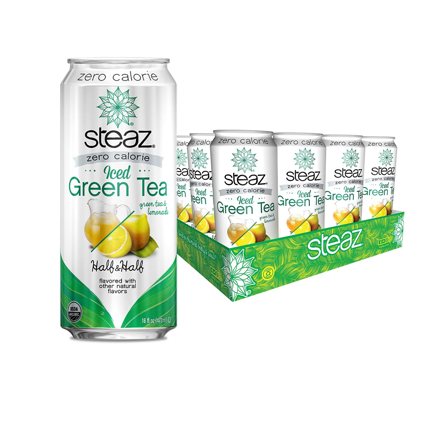 Steaz Organic Zero Calorie Iced Green Tea with Lemonade, Half & Half, 16 FL OZ (Pack of 12)