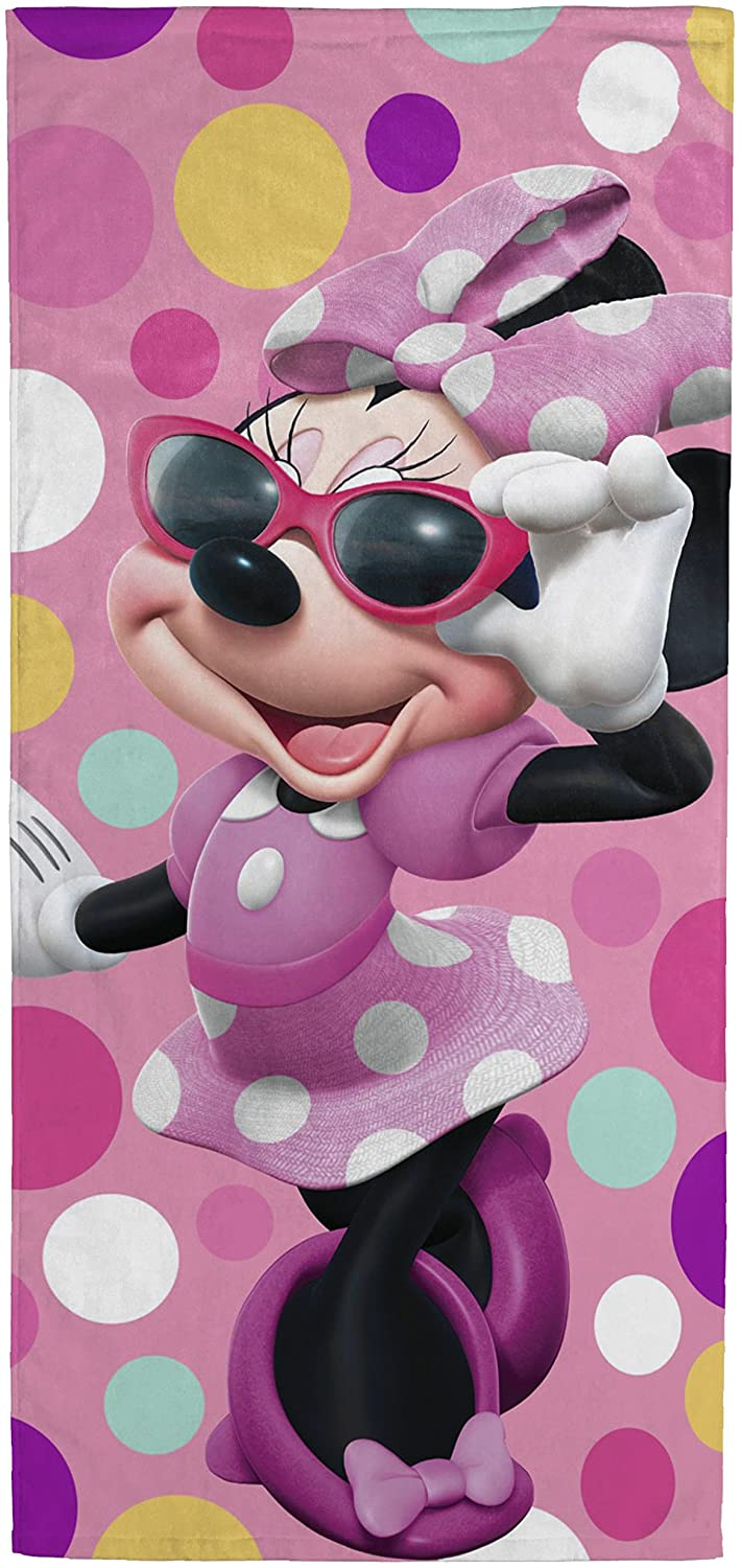Disney Minnie Mouse Bowtique Sunglasses Kids Bath/Pool/Beach Towel - Featuring Minnie Mouse - Super Soft & Absorbent Fade Resistant Cotton Towel, Measures 28 inch x 58 inch (Official Disney Product)
