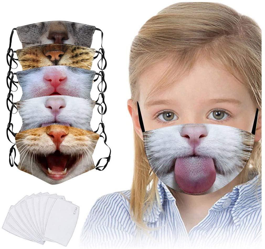 Gogoty Kids Cute Cartoon Print Reusable Face Scarf Bandanas Breathable Seamless Cotton Children Outdoor Back to School (5pcs+10)