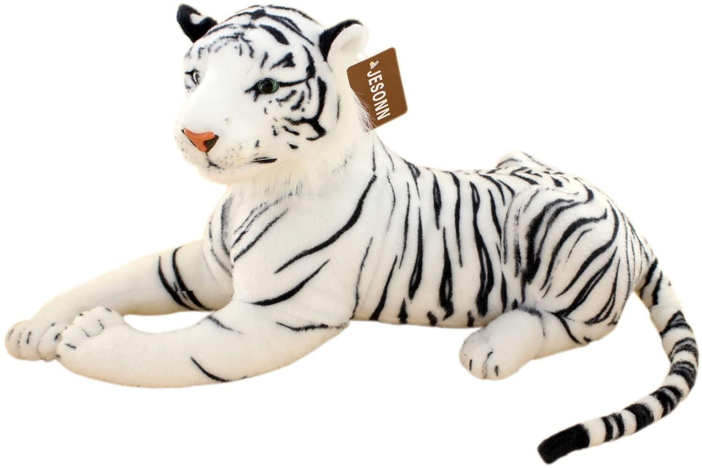 JESONN Realistic Stuffed Animals Tiger Toys Plush (White, 23.6 Inch)