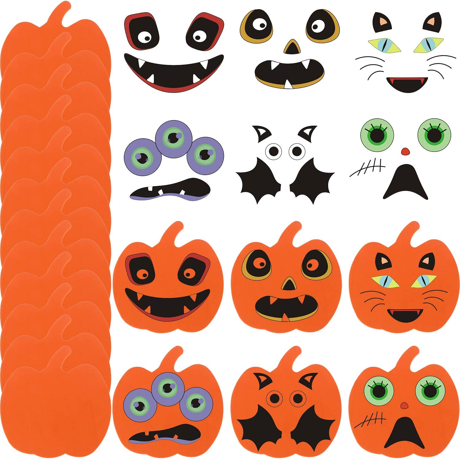 AOPOO 48 Pieces Halloween Pumpkins Shapes Foam Craft Kit and Craft Pumpkin Stickers for Halloween Thanksgiving Kids Party Decorations
