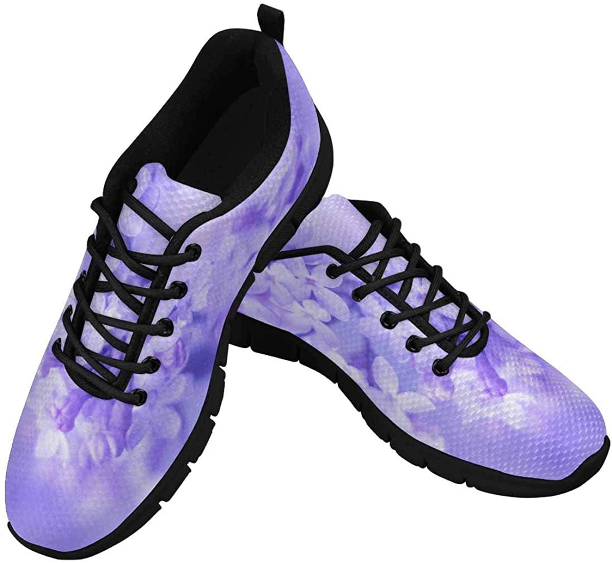 INTERESTPRINT Purple Flower Floral Women Walking Shoes Comfortable Lightweight Work Casual Travel Sneakers
