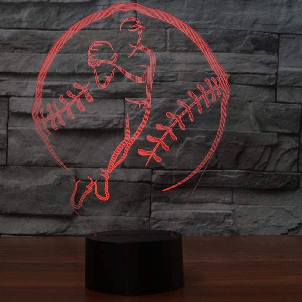 3D Baseball Optical Illusion Night Light 7 Color Change USB Touch Button LED Desk Table Light Lamp