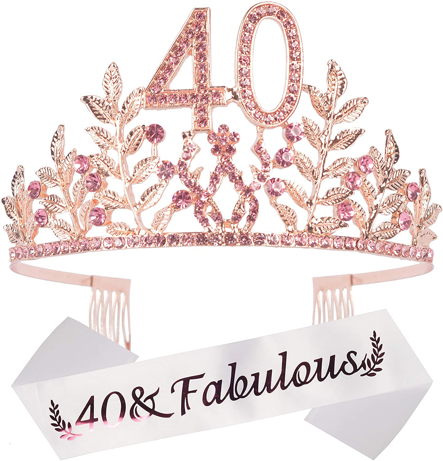 40th Birthday Party Decorations Supplies, 40th Birthday Gifts, 40th Birthday Tiara and Sash, 40th Happy Birthday, 40 & Fabulous Pink Satin Sash, Happy 40th Birthday Party Supply, It's my 40th Birthday