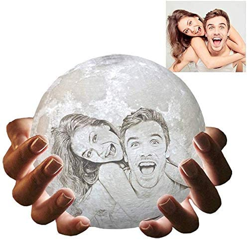 Personalized Moon Lamp with Your Own Picture, 3D Printed 3 Colors Customized Moon Light with Wood Stand (5.9
