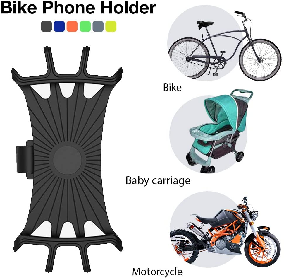 SAMTITY Bike Phone Mount, Silicone Adjustable Pull Button Anti-Shock Phone Holder, Mount Bracket Fork for Bicycle, Motorcycle Phone Holder