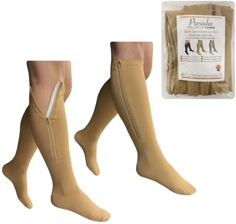 Presadee Seniors 15-20 and 20-30 mmHg Zipper Compression Open Closed Toe Socks (15-20 & 20-30 mmHg Closed Toe Beige, L/XL)
