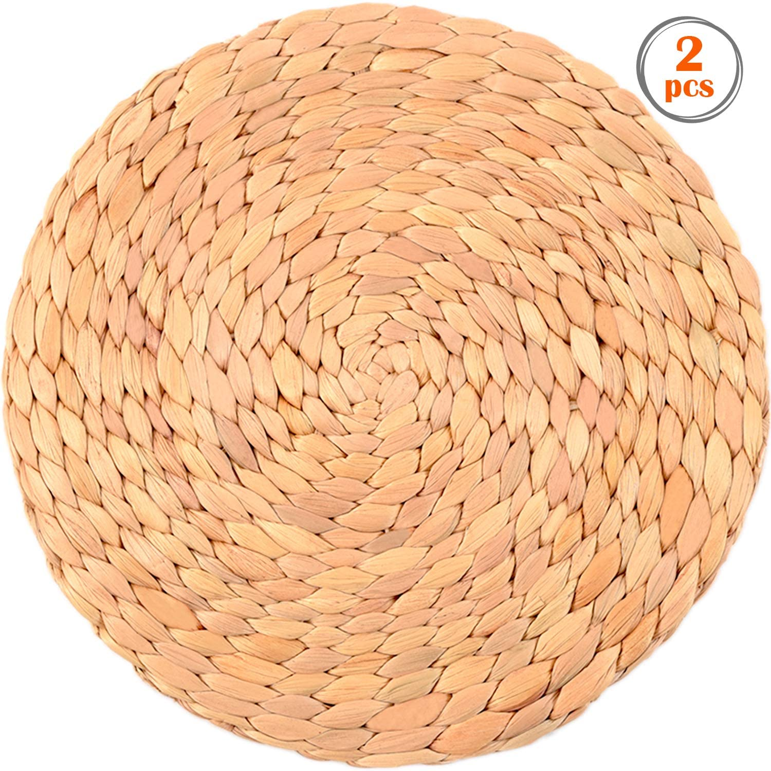 Water Hyacinth Woven Placemats, Placemats for Dining Table Waterproof, Round Placemats for Dining Table, Wicker Dining Table, Place Mats for Round Tables, Placemats for Dining Table Set of 2, 11.8