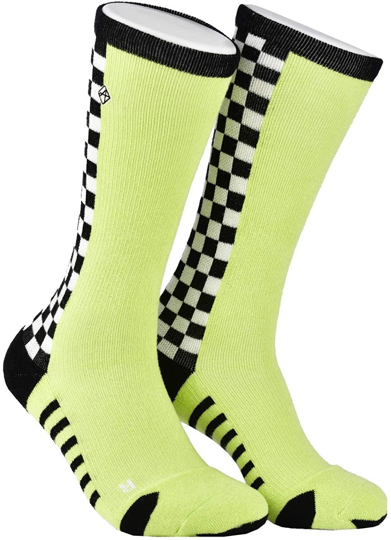 Again 1231 Checkered 3D Compression Cushion Crew Socks 3D Knit Technology
