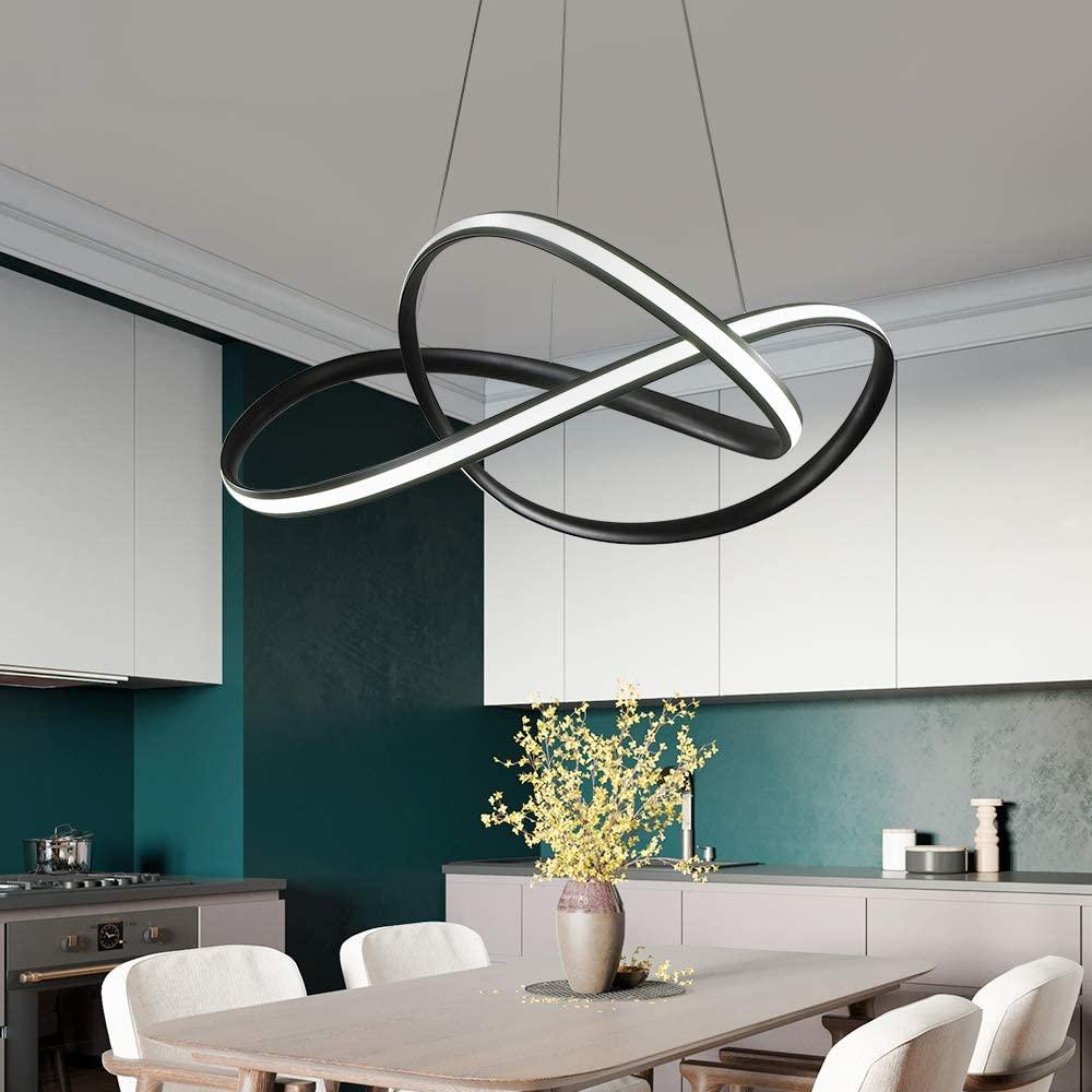 AXSHINE Modern Chandelier Atmosphere Creative Personality Pendant Light Hung Light Painting Lamp Fixture forliving Room Dining Room Nordic Art Restaurant LED Chandelier(Black)
