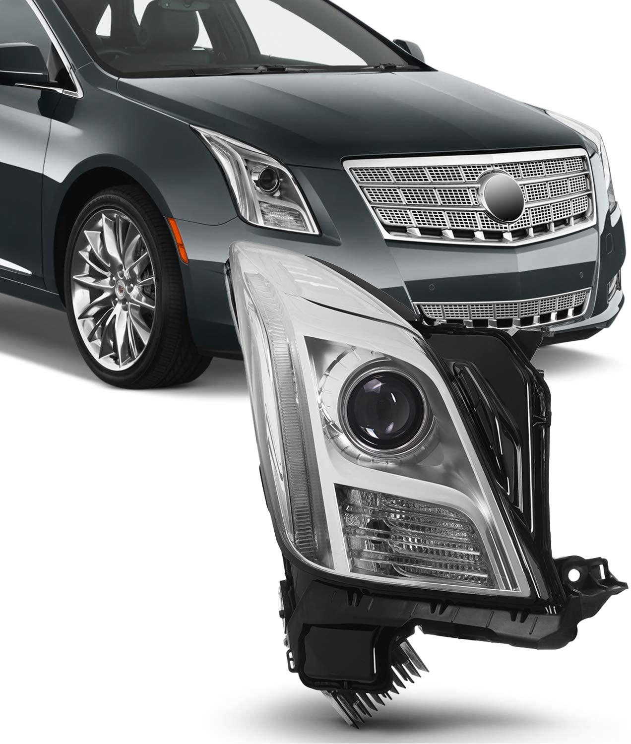 For 13-17 Cadillac XTS [AFS MODEL ONLY] Passenger RIGHT Side Chrome Projector Headlight Lamp Direct Replacement